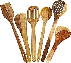طقم أواني طبخ ملاعق خشبية يدوية الصنع من ITOS365 (6 قطع) أدوات المطبخ، مجموعة من 6 قطع