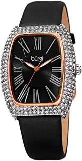Burgi Rectangle Swarovski Crystal & Diamond Watch - Accented Leather Strap Women's Watch - Roman Numerals - Mother's Day Gift- BUR237