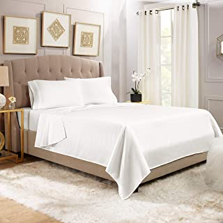 Cal King Size Bed Sheets Set, White - Soft Luxury Best Quality 4-Piece Bed Set - Features Special Tight Fit Corner Straps ...