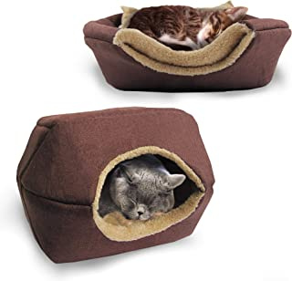 Bow Meow Premium 100% Organic Cotton Pet Bed/Cave, Cat Bed and Cave, Small Dog Bed, 2-in-1 Foldable Pet Bed, Soft, Warm, W...