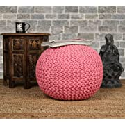 RAJRANG BRINGING RAJASTHAN TO YOU Decor Cotton Braid Cord Stitched Ottoman Pouf Cylindrical Round Outdoor Seating Chair, D-20 x H-14 inch,