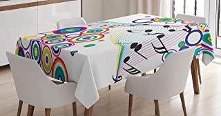 Ambesonne Music Decor Tablecloth by, Music Notes Rainbow Colored Plasma Geometric Squares Circles Line Artwork Print, Dining Room Kitchen Rectangular Table Cover, 52W X 70L Inches, Multicolor