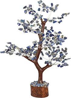FASHIONZAADI Natural Healing Money Bonsai Tree for Good Luck Feng Shui Table Home Decor Chakra Balancing Stone Crystal Energy Size 10-12 inch (Lapis (Silver Wire))