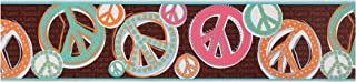 York Wallcoverings Friends Forever JE3510B Peace & Love Sign Pre-Pasted Wallpaper Border, Brown Background/Dark Pastels