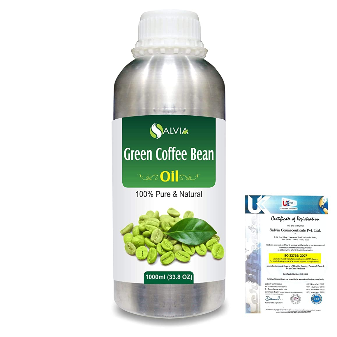浴室拘束するあらゆる種類のGreen Coffee Bean (Coffer) arabica)100% Natural Pure Carrier Oil 1000ml/33.8fl.oz.