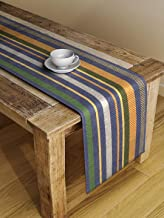 Dhrohar NEUDIS Cotton Hand Woven Ribbed Table Runner for 6 Seater Table Home Décor Orange and Yellow (33 X 182 cms)