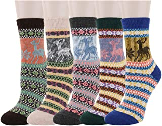 Women Girls Wool Socks Vintage Novelty Hiking Thick Thermal Fuzzy Crew Tube