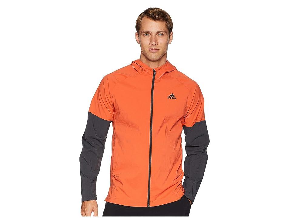 adidas Sport ID Full Zip Woven Hoodie (Raw Amber/Carbon) Men