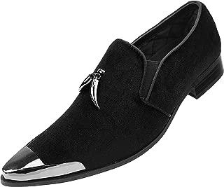 Amali Men's Metal Tip Loafer Slip-On Dress Velvet Shoe with A Dark Metal Silver Tip and Matching Sterling Metallic Horn Shaped Tassel, Smoking Slipper, Style Corwin