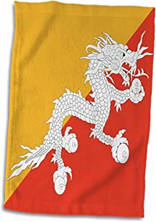 """3dRose Bandera de Bhutan-druk Bhutanese Thunder dragón en Naranja y Dorado Yellow-Asia-Asian Toalla de Mundo, 15"""" x 22"""""""