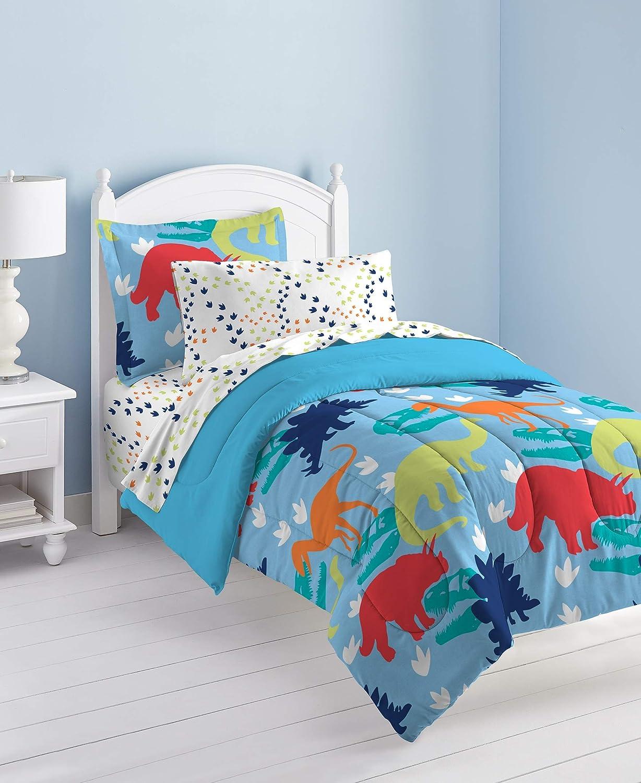 Dream Factory Dinosaur Prints Boys Comforter Set, Multi-colord, Twin