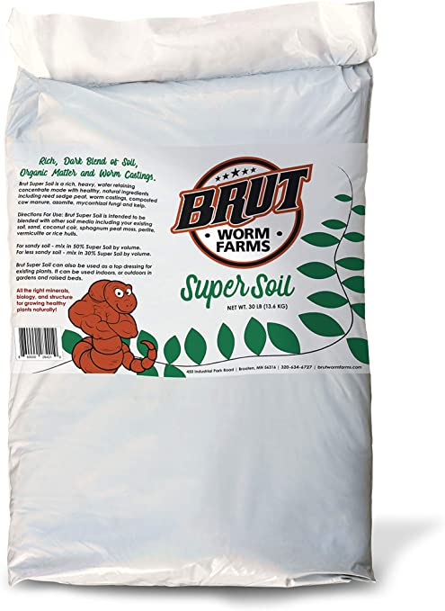 Brut Super Soil - 30lb - Rich, Dark Blend of Soil, Composts and Worm Castings, Ideal for Growing Most Plants.