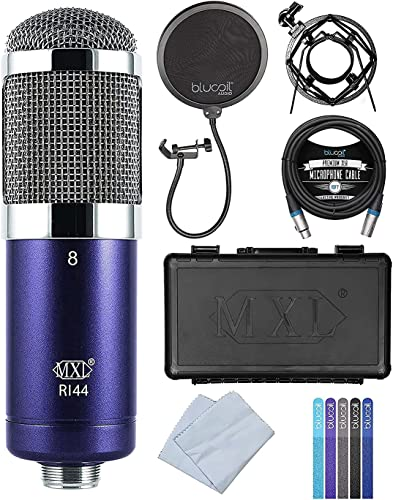 wholesale MXL R144 Ribbon Microphone with Shockmount for Vocals, Brass, Horns, Acoustic & Electric Guitars, new arrival Guitar Amps Bundle with Blucoil Pop Filter, 10-FT Balanced XLR Cable and lowest 5-Pack of Reusable Cable Ties online