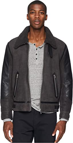 Collared Shearling Bomber Jacket