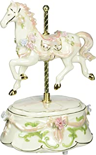 Cosmos 80039 Fine Porcelain Carousel Horse Musical Figurine, 8-Inch, Pink
