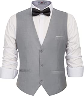 pipigo Men Casual Single Breasted Business Sleeveless Waistcoat Suit Vest