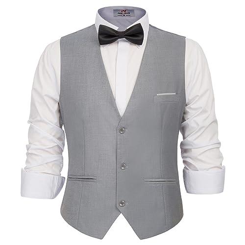 89896661006 PAUL JONES Men s Business Suit Vests Slim Fit 3 Button Formal Waistcoat