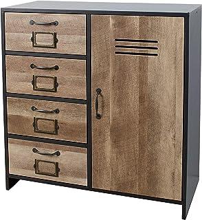 House & Homestyle Armoire de Rangement 4 tiroirs Noir/Marron