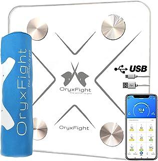 ORYXFIGHT - Anómetro, Báscula inteligente, batería recargable mediante USB, conexión Bluetooth, 12 datos de análisis + toalla de microfibra