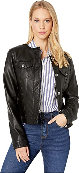 Faux Leather Collarless Trucker