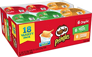 Pringles Snack Stacks Potato Crisps Chips, Flavored Variety Pack, Original, Cheddar Cheese, and Sour Cream and Onion,...