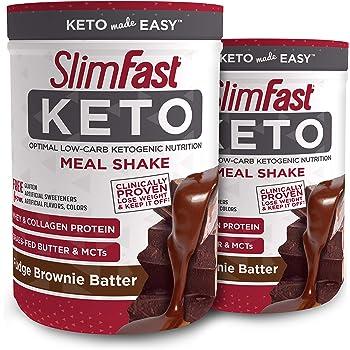 SlimFast Keto Meal Replacement Shake Powder - Fudge Brownie Batter - 13.4 Oz. - 10 Servings (Pack of 2) - Pantry Friendly