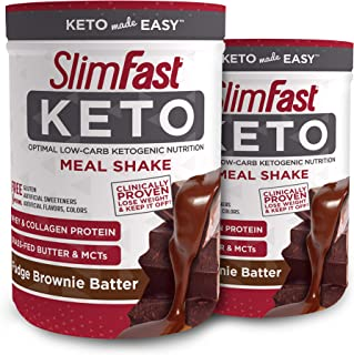 Slimfast Keto Meal Replacement Powder Fudge Brownie Batter, (20 Servings), 2 Count - Pack of 2 Canisters