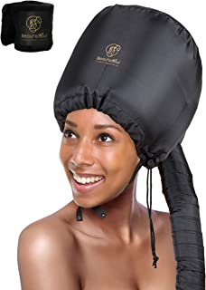 Soft Bonnet hooded hair dryer Attachment for Natural Curly Textured Hair Care| Drying,Styling,Curling,Deep Conditioning Mask Cap| Upgraded Soft Adjustable Large hooded bonnet for Hand Held hair Dryer
