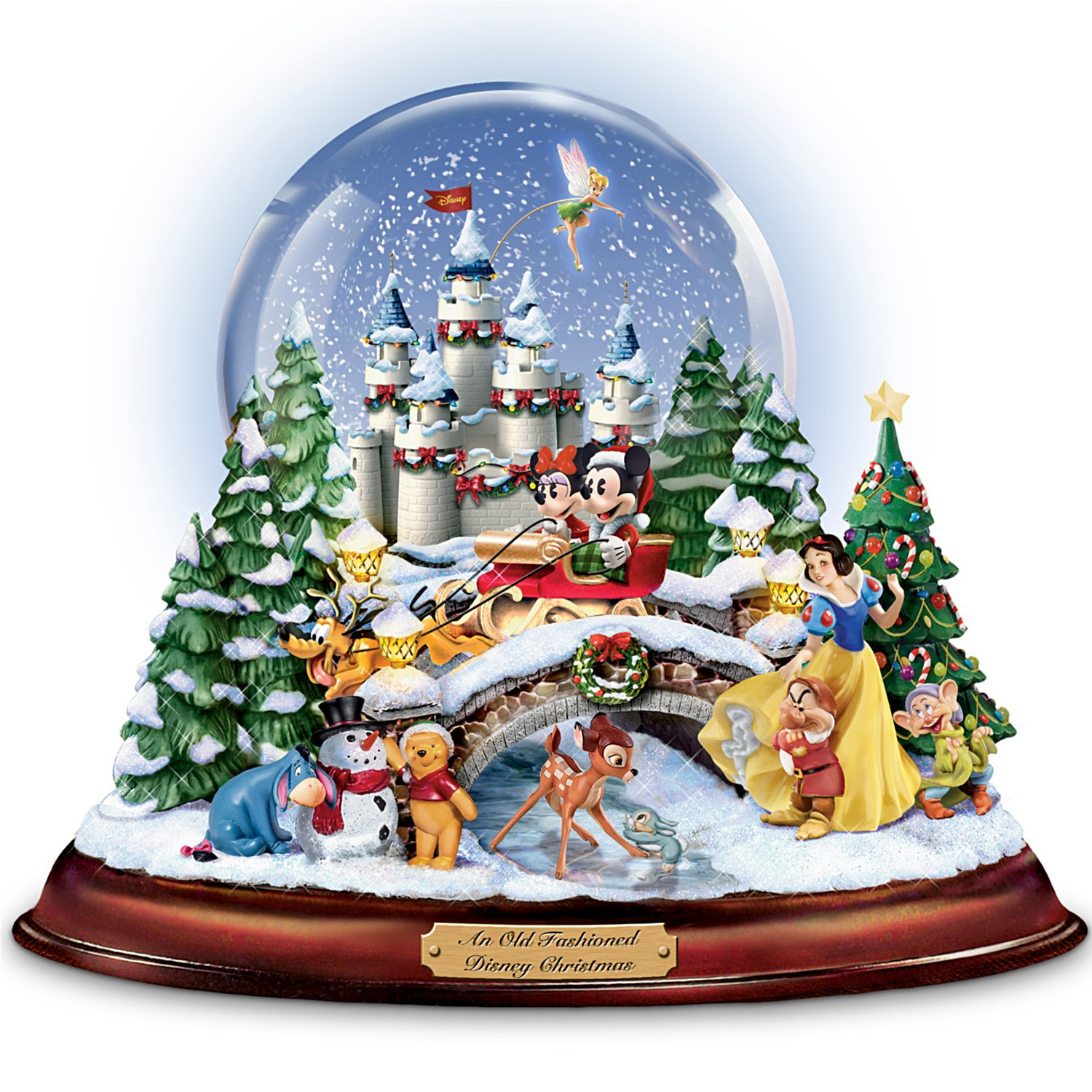Image of Adorable Lighted Musical Disney Christmas Snow Globe