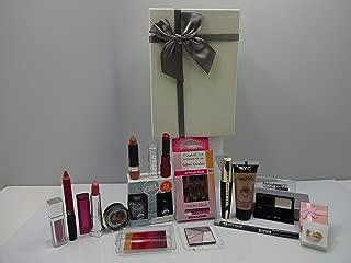 L'Oreal - Juego de 6 bolsas de regalo de belleza con 6 productos de maquillaje L'oreal + cesta de regalo gratis con 3 delineadores de ojos de purpurina de lavado