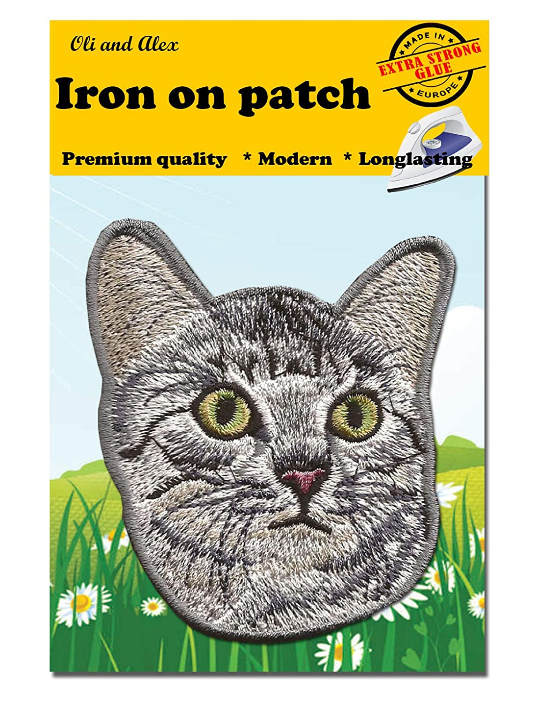 A-112, Cat DIY Embroidered Sew Iron on Patch 3.07 by 3.50 inches(7.8 x 8.9 cm)