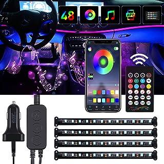 Rovtop 4PCS Lumières LED voiture Intérieur, Bande LED de Couleurs RVB, LED pour Voiture Intérieur Avec Contrôle APP et Tél...