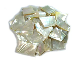 Yuan's 2oz Irregular Size Pieces by Sea White Mother of Pearl MOP. One Side Polished. For Mosaic Art Tiles, Musical Instrument Inlay Jewelry Design. (2oz - Irregular Cut, White Mother of Pearl)