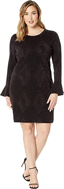 Plus Size Bodycon Flounce Sleeve Dress