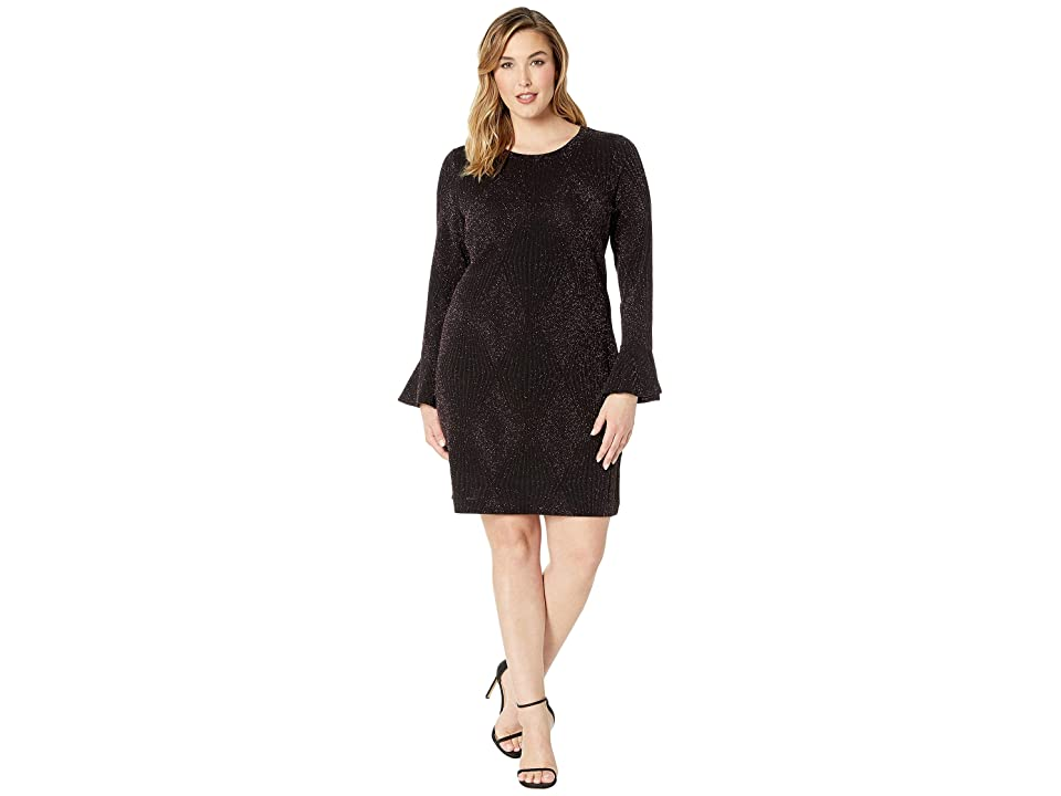 MICHAEL Michael Kors Plus Size Bodycon Flounce Sleeve Dress (Black/Cordovan) Women
