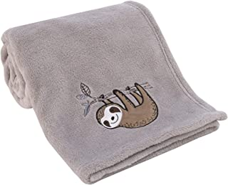 NoJo Sloth Let's Hang Out Grey & White Super Soft Plush Baby Blanket with Applique, Grey, White