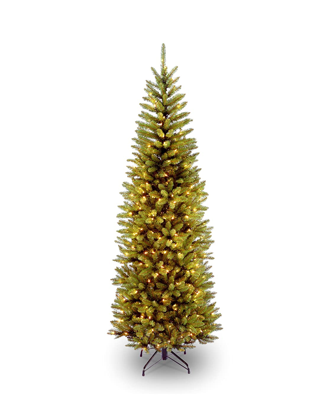 National Tree 6.5 Foot Kingswood Fir Pencil Tree with 250 Clear Lights, Hinged (KW7-300-65)
