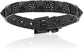 Double Bone Genuine Stingray Leather Bracelet with Black PVD Studs for Men and Women. Adjustable Bracelet