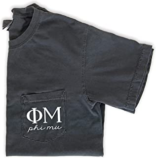 Phi Mu Script Letters Pocket T-Shirt