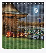 LB Rustic Country Farm Cottage Pumpkin Scarecrow Shower Curtain, Halloween Night Themed Bathroom Decor, 70 x 70 Shower Curtain Waterproof
