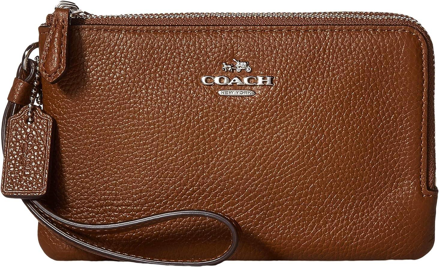 Coach Women's Polished Pebbled Leather Double Corner Zip Bag