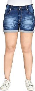 Club A9 Women's Navy Blue Denim Shorts | Stretchable