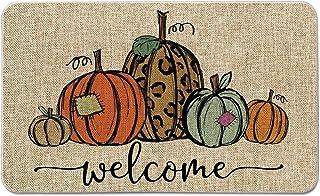 Artoid Mode Pumpkin Welcome Decorative Doormat, Fall Halloween Thanksgiving Rustic Yard Low-Profile Floor Mat Switch Mat for Indoor Outdoor 17 x 29 Inch
