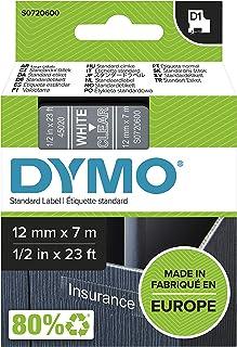 DYMO D1 Label Cassette Tape, 12mm x 7m, White/Clear