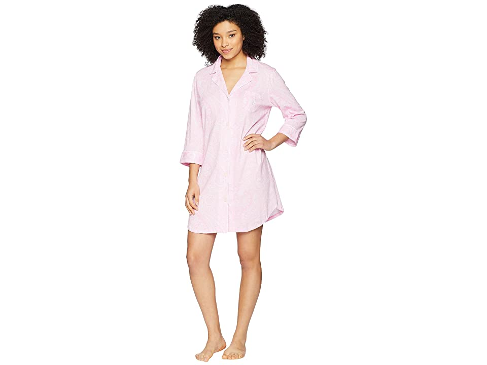 LAUREN Ralph Lauren Essentials Bingham Knits Sleep Shirt (Pink Paisley) Women
