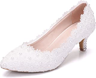 Melesh White Princess Lace Sweet Wedding Bridal Women Kitten Heels 5cm