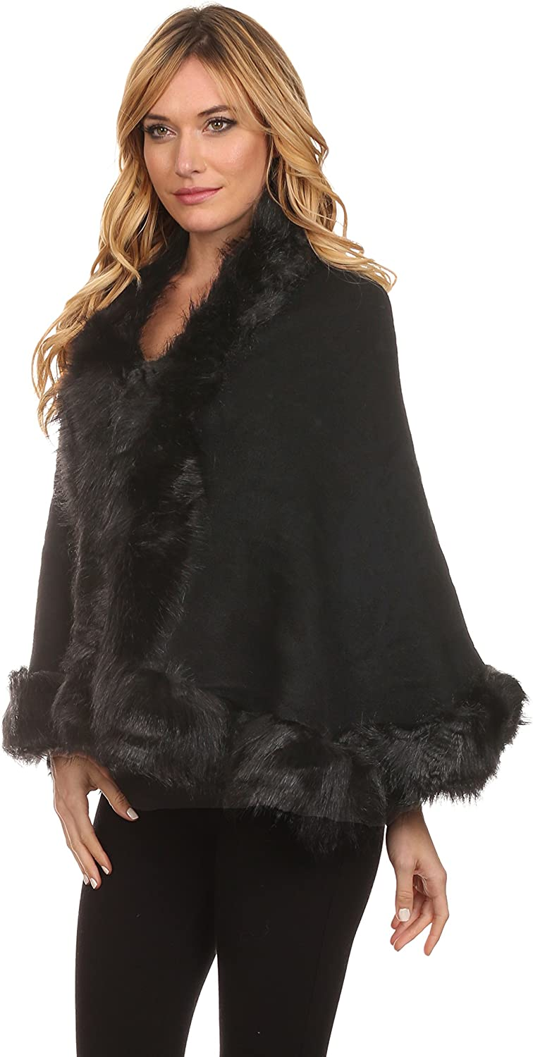 ICONOFLASH Women's Faux Fur Trim Cold Weather Sweater Poncho Cape
