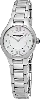 Noemia Womens Stainless Steel Real Diamond Watch - 27mm Analog Mother of Pearl Face with Sapphire Crystal - Swiss Made Quartz Luxury Diamond Watches for Women 5127-ST-00985