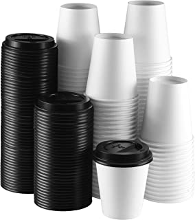 NYHI 8 oz White Paper Disposable Cups With Black Lids - Hot/Cold Beverage Drinking Cup for Water, Juice, Coffee or Tea - Ideal for Water Coolers, Party, or Coffee On the Go