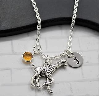 Giraffe Necklace - Giraffe Jewelry for Kids & Women - Giraffe Gifts for Women - Personalized Initial & Birthstone